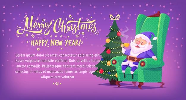 Bonito dos desenhos animados azul terno papai noel sentado na cadeira, bebendo chá banner horizontal de ilustração de feliz natal