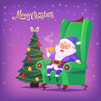 Bonito dos desenhos animados azul terno papai noel sentado na cadeira, bebendo chá ilustração de feliz natal