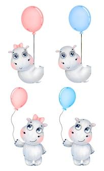 Bonito dos desenhos animados bebê menino e menina hipopótamos com balões em um fundo branco