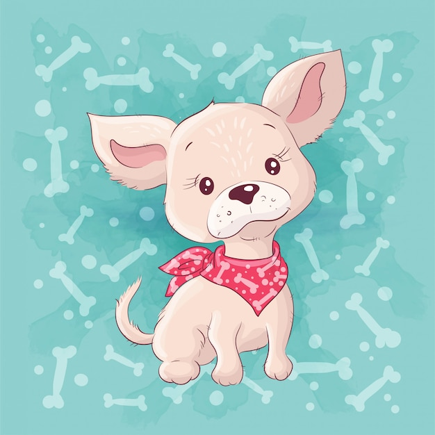 Bonito dos desenhos animados cachorrinho, cachorrinho. desenho à mão