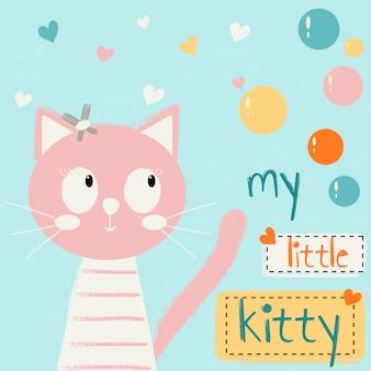 Bonito dos desenhos animados com um gato