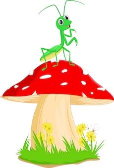 Bonito dos desenhos animados de louva-a-deus com cogumelo vermelho