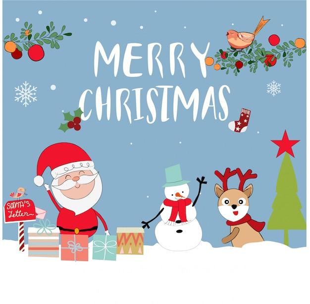 Bonito dos desenhos animados de papai noel no tema de feliz natal