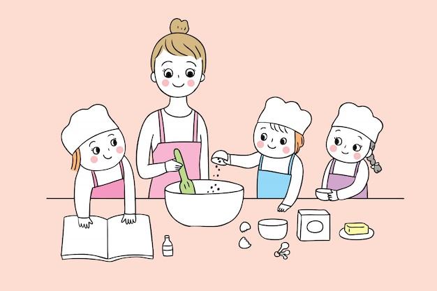 Bonito dos desenhos animados de volta à aula de culinária da escola