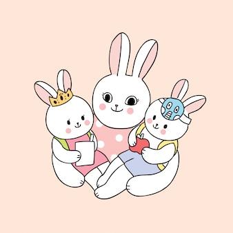 Bonito dos desenhos animados de volta à escola mãe e coelho do bebê ir para a escola
