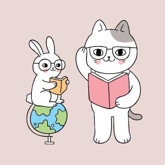 Bonito dos desenhos animados de volta ao gato da escola e livro de leitura do coelho