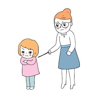 Bonito dos desenhos animados de volta ao professor da escola castigar estudante