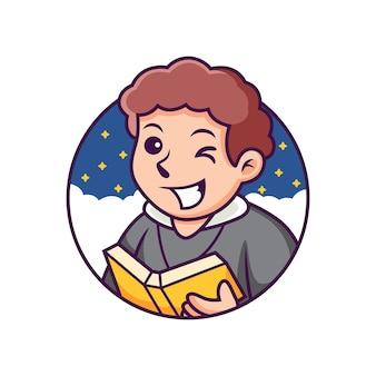 Bonito dos desenhos animados do pastor com fundo à noite. ilustração do ícone. conceito de ícone de pessoa isolado