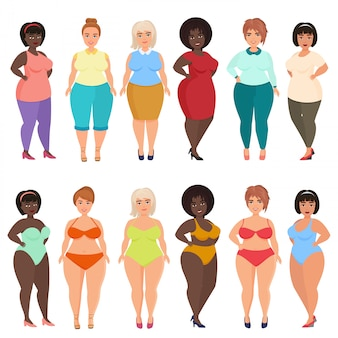 Bonito dos desenhos animados feliz e sorridente e mais mulher de tamanho em casual, biquíni, elegante e vestido de noite. conjunto de fêmeas curvilíneas, com excesso de peso.