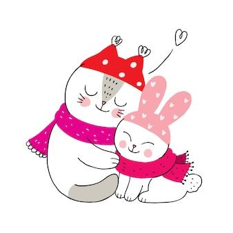 Bonito dos desenhos animados inverno, gato e coelho