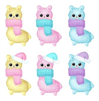 Bonito dos desenhos animados inverno lhamas de natal em conjunto de lenços