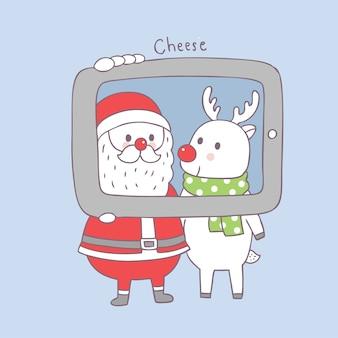 Bonito dos desenhos animados natal papai noel