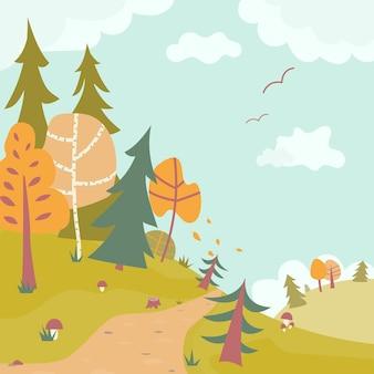 Bonito dos desenhos animados, outono, floresta, paisagem, outono, infantil, fundo, ilustração vetorial plana