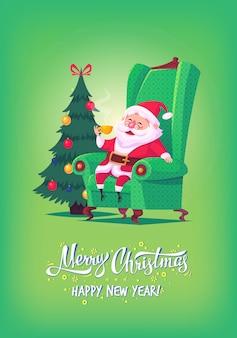 Bonito dos desenhos animados papai noel sentado na cadeira, bebendo chá ilustração de feliz natal cartaz cartão
