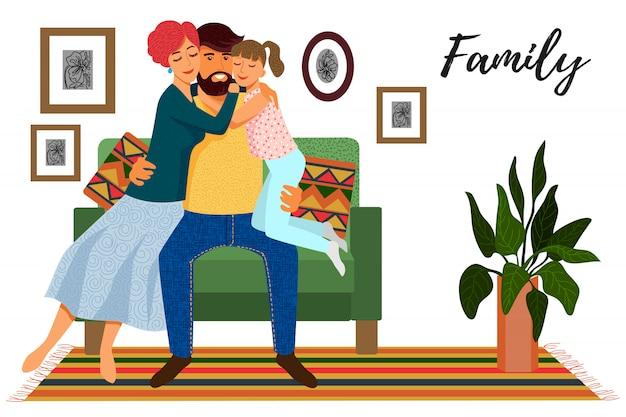 Bonito dos desenhos animados plana pai, mãe e filha no sofá no interior isolado.