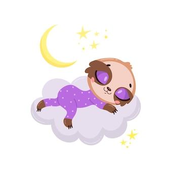 Bonito dos desenhos animados preguiça dormindo em uma nuvem.