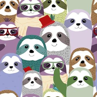 Bonito dos desenhos animados, sorrindo preguiçosos personagens animais preguiça