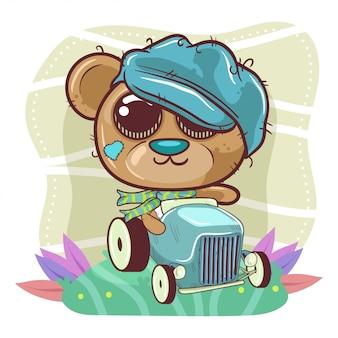 Bonito dos desenhos animados urso menino vai em um carro - vetor