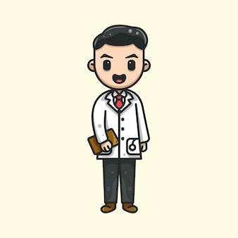Bonito doutor para ícone etiqueta do logotipo do personagem e ilustração