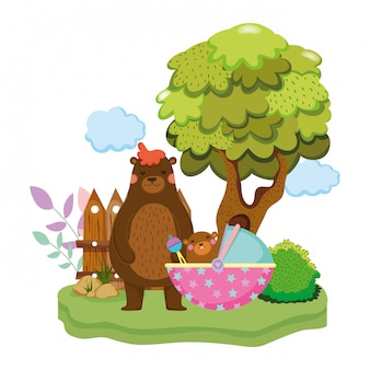 Bonito e pouco urso e bebê