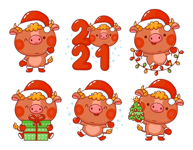 Bonito engraçado ano novo 2021 símbolo touro no conjunto de caracteres de tampa de papai noel. personagem de desenho vetorial kawaii