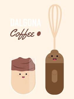 Bonito engraçado café gelado dalgona e misturador.