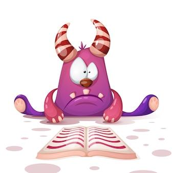 Bonito, engraçado, monstro ler livro