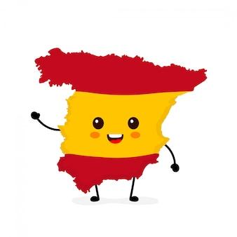 Bonito engraçado sorrindo feliz espanha mapa e bandeira personagem.