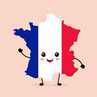 Bonito engraçado sorrindo feliz frança mapa e bandeira personagem.