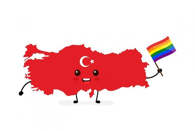 Bonito engraçado sorrindo feliz turquia mapa e bandeira personagem com bandeira gay lgbt arco-íris.