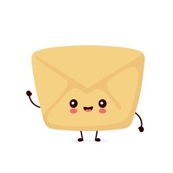 Bonito envelope feliz sorridente, carta de papel. ilustração de personagem de desenho animado plana. isolado no fundo branco. conceito de caráter de envelope