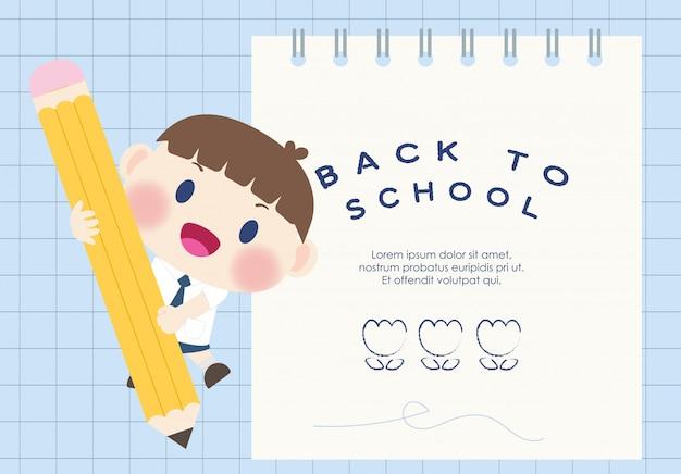 Bonito estudante elementar feliz volta para a escola