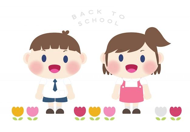 Bonito estudante elementar feliz volta para o vetor de escola