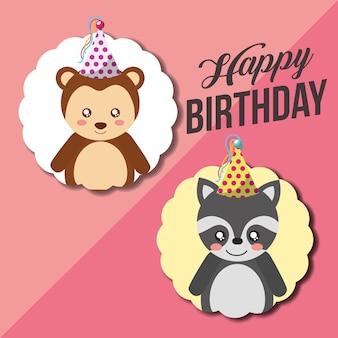Bonito feliz aniversário cartão engraçado guaxinim e macaco