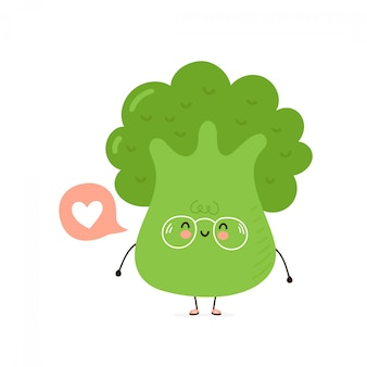 Bonito feliz brócolis sorridente com coração na bolha do discurso.
