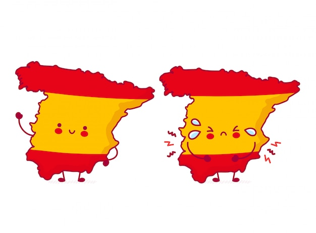 Bonito feliz e triste engraçado espanha mapa e bandeira personagem.