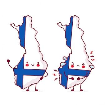Bonito feliz e triste engraçado finlândia mapa e bandeira personagem.