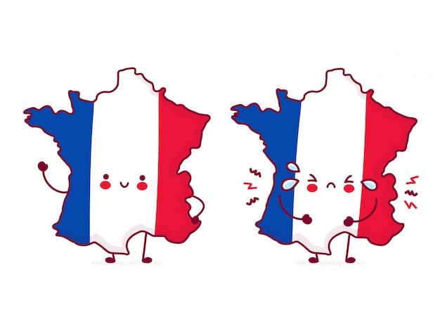 Bonito feliz e triste engraçado frança mapa e bandeira personagem.
