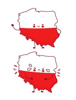Bonito feliz e triste engraçado mapa e bandeira da polónia. ícone de ilustração do vetor linha plana dos desenhos animados do personagem kawaii. isolado. conceito polonês