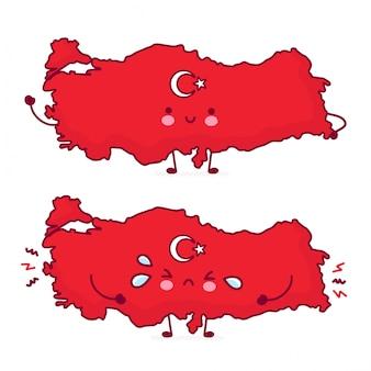 Bonito feliz e triste engraçado turquia mapa e bandeira personagem.