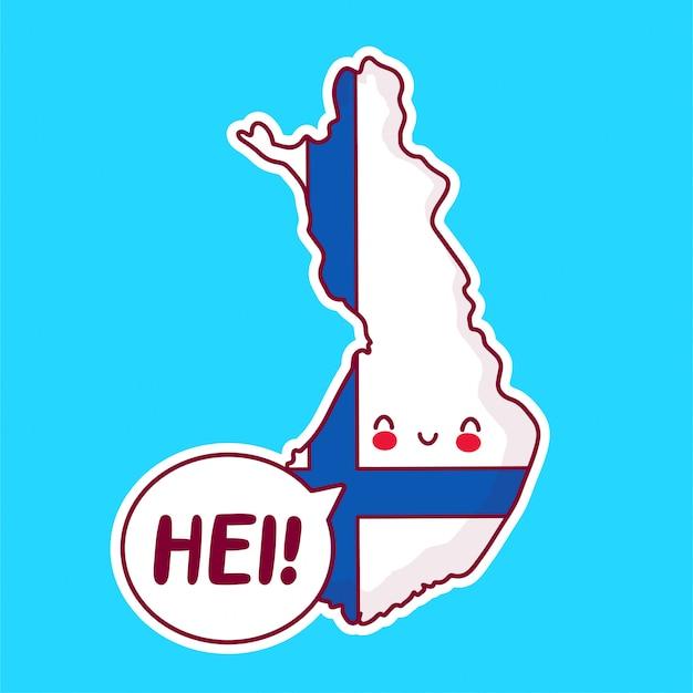 Bonito feliz engraçado finlândia mapa e bandeira personagem com palavra hei no balão.