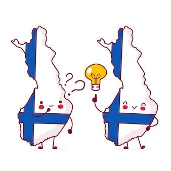 Bonito feliz engraçado finlândia mapa e bandeira personagem com ponto de interrogação e lâmpada de ideia.