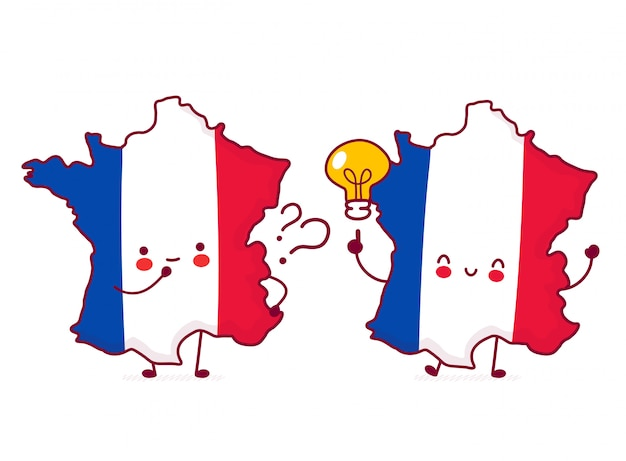 Bonito feliz engraçado frança mapa e bandeira personagem com ponto de interrogação e ideia lâmpada. Vetor Premium