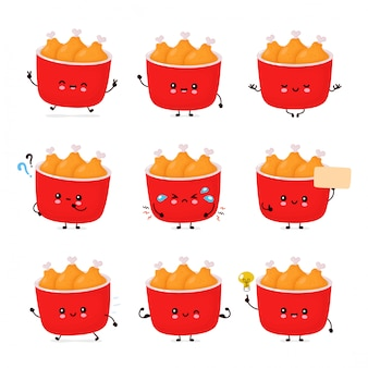Bonito feliz engraçado frango frito balde coleção definida. desenho animado personagem ilustração ícone do design. isolado no fundo branco