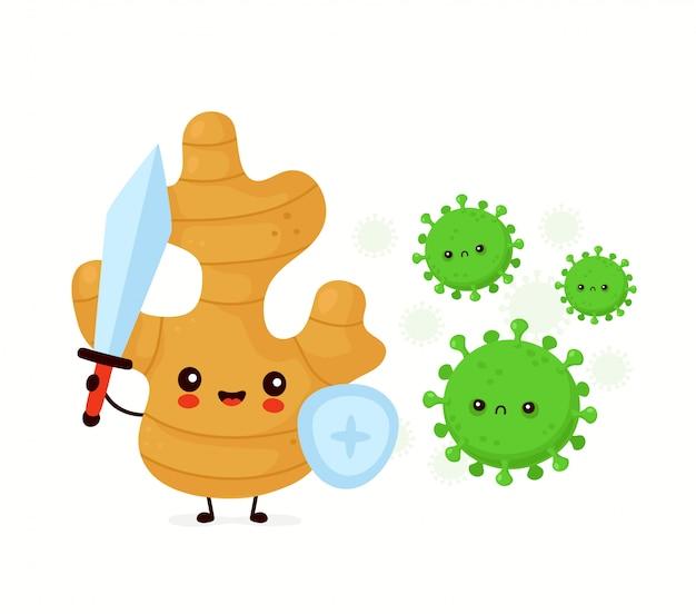 Bonito feliz engraçado gengibre raiz luta com vírus. desenho animado personagem ilustração ícone do design. isolado no fundo branco