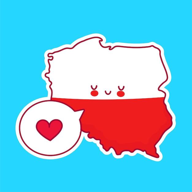 Bonito feliz engraçado polónia mapa e bandeira personagem com coração no balão. linha dos desenhos animados do ícone de ilustração do personagem kawaii. conceito polonês