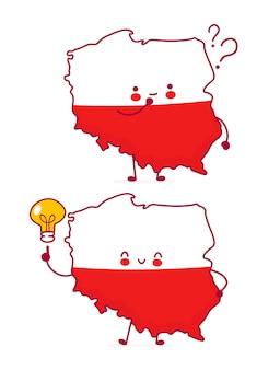 Bonito feliz engraçado polónia mapa e bandeira personagem com ponto de interrogação e lâmpada de ideia. ícone de ilustração do vetor linha plana dos desenhos animados do personagem kawaii. isolado. conceito polonês