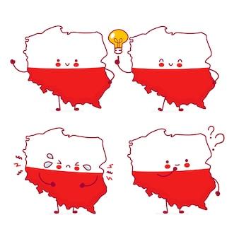 Bonito feliz engraçado polónia mapa e bandeira personagem. linha dos desenhos animados do ícone de ilustração do personagem kawaii. sobre fundo branco. conceito polonês