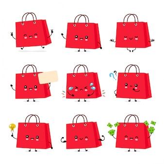 Bonito feliz engraçado sacola coleção definida. desenho animado personagem ilustração ícone do design. isolado no fundo branco