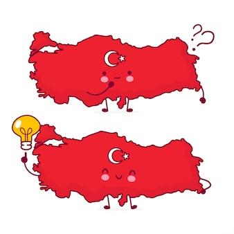 Bonito feliz engraçado turquia mapa e bandeira personagem com pontos de interrogação e lâmpada de ideia.
